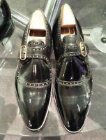 Chaussures à lanière de moine simple en cuir verni noir fait à la main pour homm