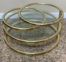 Mid Centurn Modern SWIVEL COFFEE TABLE Milo Baughman Style Brass Tubular Tier
