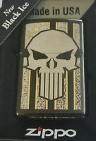 Zippo PUNISHER American Flag Gold Skull Stars Stripes Limited Edition Black ICE