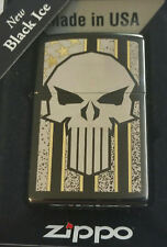 Zippo American Flag Punisher Gold Skull Stars Stripes Limited Edition Black ICE