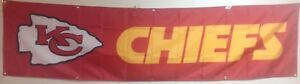 Large Kansas City Chiefs Banner 2'x8'  Ships Free And Quickly From N.C.
