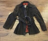 Vintage Lady Baracuta WOMENS Trench Leather Jacket Belted Brown Button Coat MOD