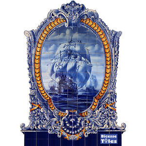 Portuguese Azulejos Tiles Panel Mural TRADITIONAL BAROQUE CARAVEL AGES DISCOVERY