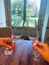 Nambe glassware, 2 champagne flutes, full lead crystal, handcrafted in Slovenia