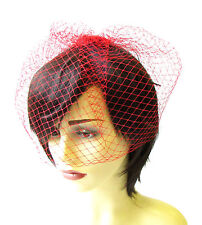 Red Birdcage Veil Hair Clip Fascinator Net Hair Vintage Races Headpiece 1379