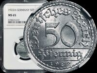 1922-A Germany 50 Pfennig - NGC MS65 BU/UNC - KM#27 TOP POP - None Finer 🥇
