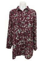 J Jill Women's Red Floral Button Up Long Sleeve Blouse Tunic Shirt Top Size M