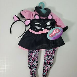 """MY LIFE BLACK AND PINK CAT COSTUME WITH EARS AND TIGHTS For 18"""" Doll Halloween"""