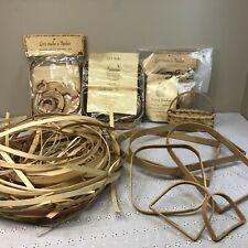 Lot of Miscellaneous Basket Weaving Pieces, Reed, Handles, ACP Basket Kits