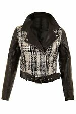 Ladies Knitted Black White PU Leather  Belted PVC Biker Women's Jacket