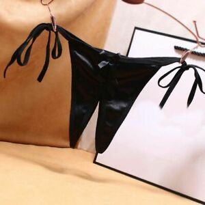 Lace-up Ladies Satin Open Crotch Bow Thongs Off Sexy Bow Panties G-Strings