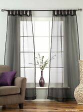 "Black Tab Top Sheer Tissue Curtain / Drape / Panel - 84"" - Piece"