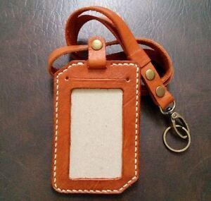 Genuine Leather ID Card Holder Handmade & Handstitch With Lanyard