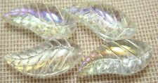 6 Pieces 8x18mm Leaf Pattern Two Pointed Faceted Crystal Spacer glass bead Df5