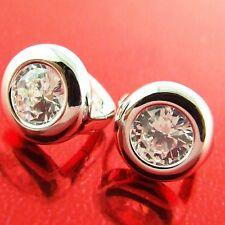 AN217 GENUINE REAL 18K WHITE G/F GOLD DIAMOND SIMULATED HUGGIE HOOP EARRINGS