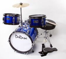 """BLUE 3 PC 12"""" Starter Drum Set Great Gift 4 KIDS to Learn - Start a Rock Band"""