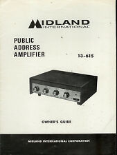 Original Factory Midland 13-615 PA Public Address Amplifier Owner's Manual/Guide
