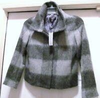 Talbots Petites Jackie Fit Wool Alpaca Fitted Zipper Jacket Coat Gray 2 P NWT