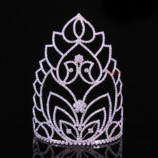 """7"""" High Large Full Crystal Wedding Bridal Party Pageant Prom Tiara Crown Combs"""