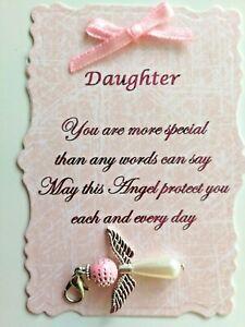 Beautiful Daughter Angel Charm with Verse, Keepsake, Gift,