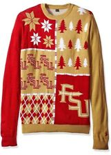 KLEW NCAA Men's Florida State Seminoles Busy Block Ugly Sweater, Large- New