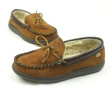 LB Evans Mens Sleepers Shoes Moccasin Suede Leather Fur Brown Size 8 E