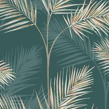 South Beach Palm Leaf Wallpaper Emerald Green Fine Decor Gold Metallic FD42679
