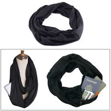 Women Men Black Infinity Cotton Scarf with Hidden Zipper Pocket Travel Secure