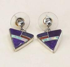 Vtg Zuni Sterling Silver Handmade Earrings, 925 Silver W/ Amethyst N Opal