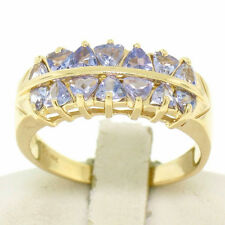 14k Yellow Gold Dual Two Row 1.40ctw 14 Trillion Cut Natural Tanzanite Band Ring