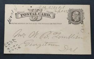 Delaware: Selbyville 1881 Postal Card, Ms, Sussex Co