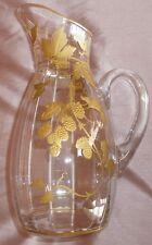 """Carafe Art Nouveau en verre à décor floral """" Framboises """" doré or fin vers 1900"""