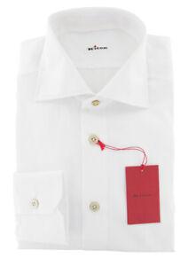 $600 Kiton White Solid Cotton Shirt - Slim - (3L)