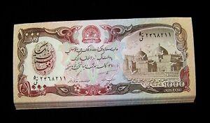 25 x Afghanistan 1000 Afghanis Banknotes P61 1991 1/4 Bundle UNC Currency