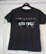 ladies new logo sequin new york t-shirt size 6