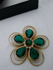 Vintage Gold Toned Green & White Rhinestones St. Pat Flower Clover Pin Brooch