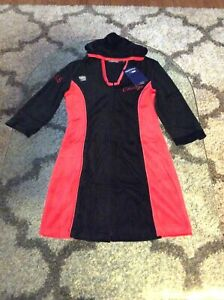 Chicago Bulls All-Embroidered Long Sleeve Zip-Up Velour Dress Ladies Medium BNWT