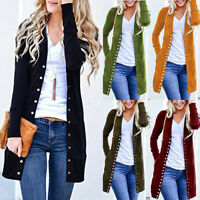 Women Kintted Solid Button Down Long Cardigan Sweater Outwear Coat Casual Jacket