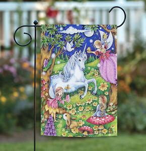 Toland Fairies and Unicorns 12.5 x 18 Colorful Forest Unicorn Fairy Garden Flag
