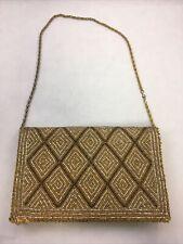 Vintage Gold & Brown Beaded Bag Handbag Purse Clutch Geometric Design *As-Is*