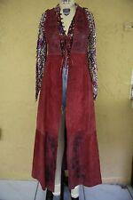 Vtg 60s 70s Char Leather Handpainted Whipstitch Boho Hippie Burgundy Vest Gilet