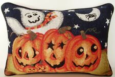 Halloween- Jack O' Lanterns w/ Ghost, Spider, Moon Tapestry Pillow New