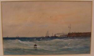 Antique 19C Seymore Wilson UK Sailboat Seascape W/C Painting