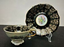 Royal Sealy China Tea Cup and Saucer Black Gold Iridescent Teacup Set Japan