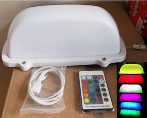 Taxi Cab Sign Car Blank DIY Roof Top Light Rechargeable 7 Color Change Wireless