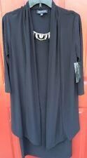 Women's NEW Classy JONES New York Black Tea Dress size 6 Beaded Collar $128 MSRP