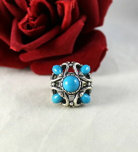 Sterling Silver Ornate  Teal l  Carolyn Pollack 15g Ring Size 7 CAT RESCUE