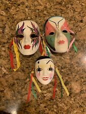 Vintage ceramic  Masks Mardi Gras Mask Lot Of 3 ~ Wall Art Decor Deco