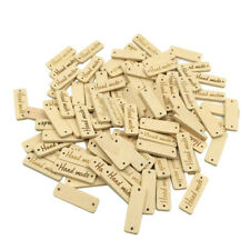 50pcs Wood Color Wooden 'hand Made' Lettering 2-hole Sewing Scrapbooking 30mm White