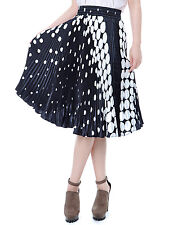 Women's S/M Fit Black White Confetti Polka Dot Pleated Party Knee-Length Skirt